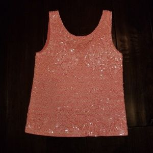 J.Crew XS  coral sequin tank/ cami